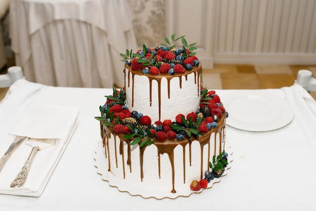 White two tiered wedding cake with berries and ganache