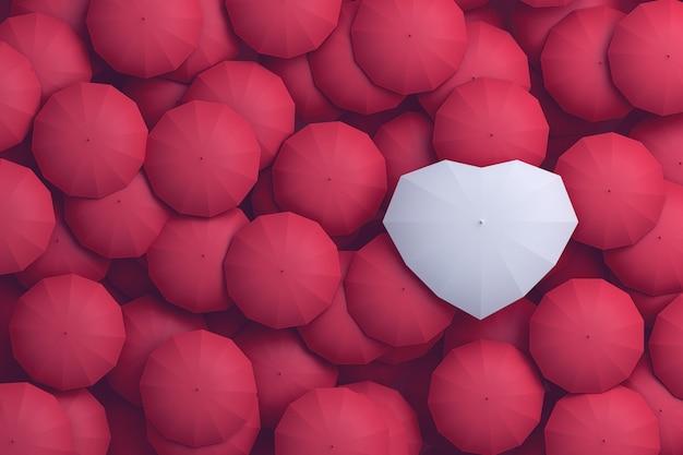 White umbrella heart shape towering over other umbrellas. 3d illustration