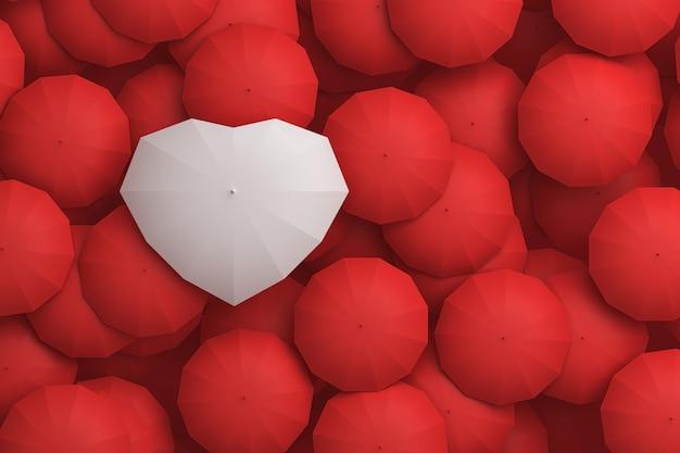 다른 우산 위에 우뚝 솟은 하얀 우산 심장 모양. 3d 그림