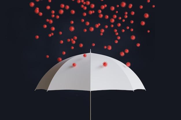 Белый зонт с covid-19. 3d иллюстрации