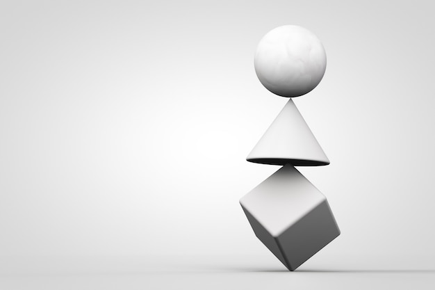 White unstable system made of geometrical figures on white background