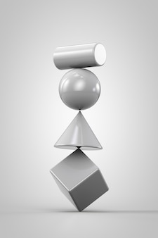 White unstable system made of geometrical shapes on white background