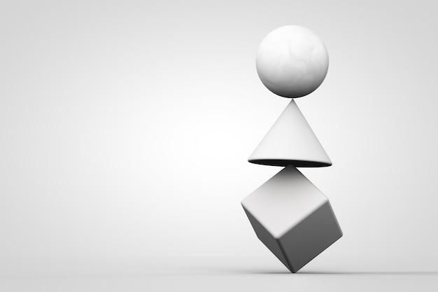 白い背景に幾何学的な図形で作られた白い不安定なシステム