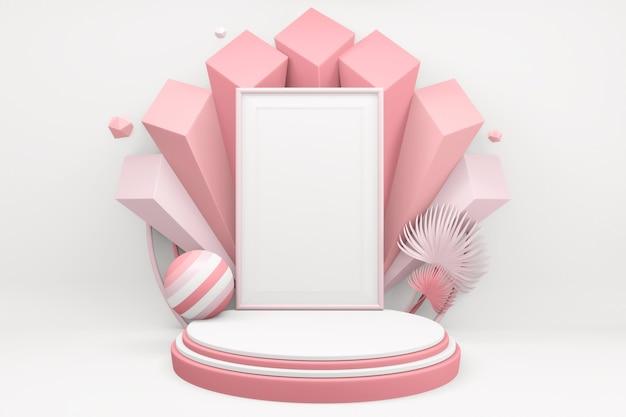 화이트 발렌타인 개념 핑크 연단 최소한의 디자인 제품 장면. 3d 렌더링