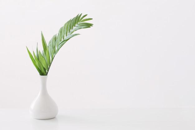 손바닥으로 흰색 꽃병 화이트에 나뭇잎