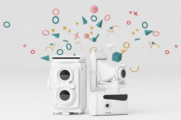 흰색 배경에 멤피스 패턴으로 둘러싼 화이트 빈티지 카메라.