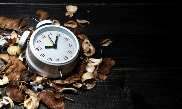 White vintage clock put on dried leaves on wooden retro black table