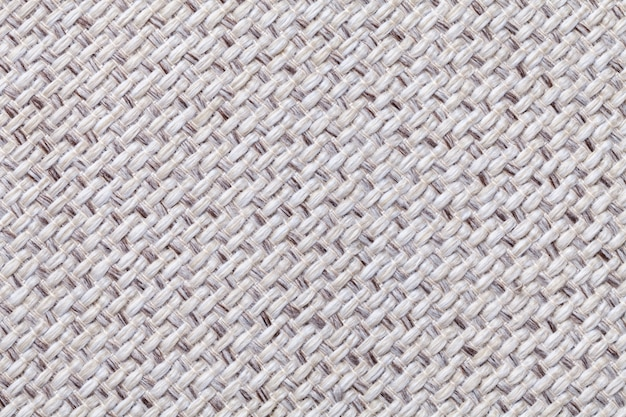 White vintage fabric with woven texture  textile macro background