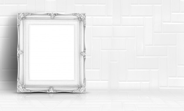 White vintage frame at white clean marble wall and floor background