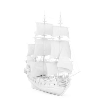 Белый старинный высокий парусник, каравелла, пиратский корабль или военный корабль в стиле визуализации глины на белом фоне. 3d рендеринг