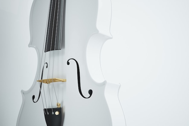 White violin on white. high quality photo-realistic render