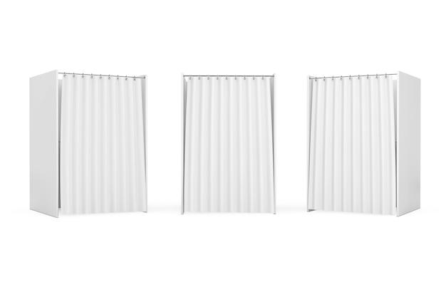 Белая будка для голосования с занавесом и пустым пространством на белом фоне. 3d рендеринг
