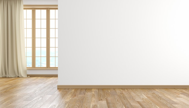 흰 벽과 나무 바닥 창과 커튼이있는 현대적인 밝은 빈 방 인테리어. 3d 렌더링 그림.