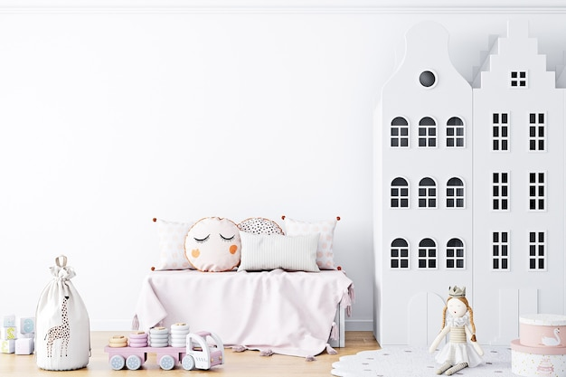 White wall background in childrens room