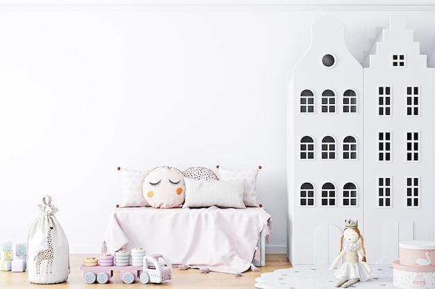 子供部屋の白い壁の背景