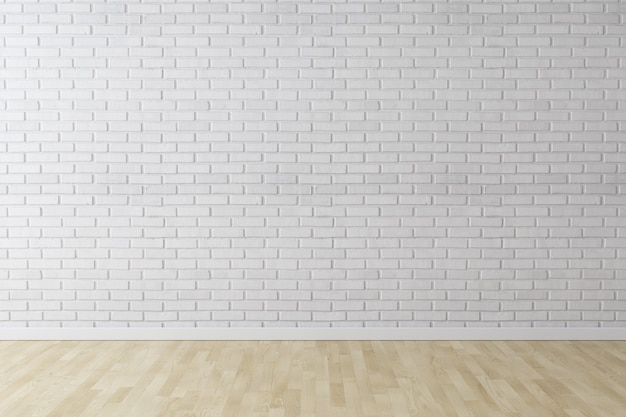 White wall brick background with wood floor