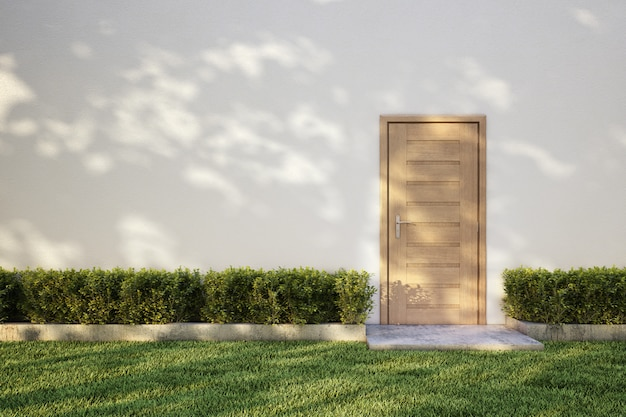 White wall on bush with wooden door, tree shadow on grass.3d rendering