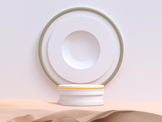 White wall geometric modern style cream fabric blank podium 3d rendering