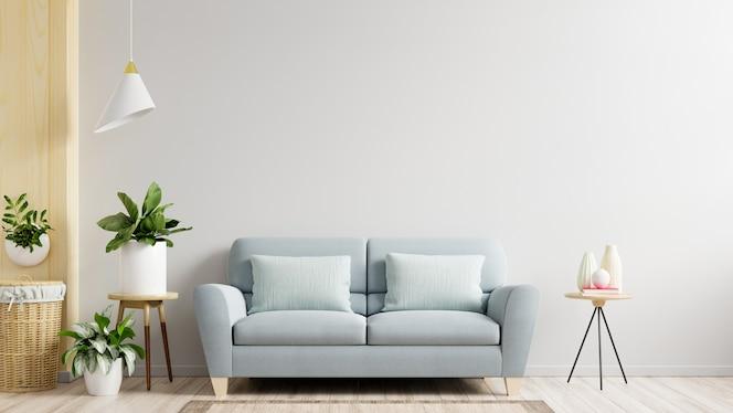 白い壁のリビングルームにはソファと装飾があり、3dレンダリング