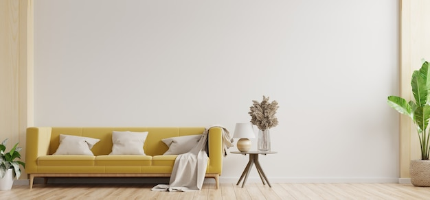 White wall living room have yellow sofa and decoration,3d rendering