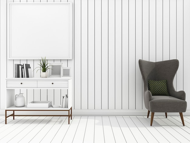 White wall living room with clean furniture
