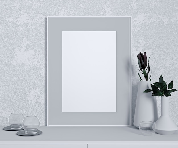 White wall mock up in modern interior, close up with green plant on white table, minimal design, 3d rendering