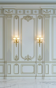 White wall panels in classical style with gilding. 3d rendering