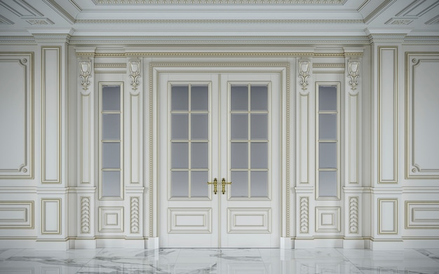 Белые стеновые панели в классическом стиле с позолотой. 3d-рендеринг
