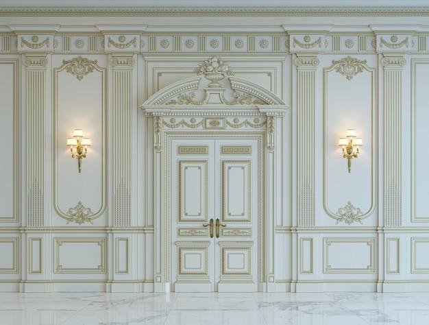 금박을 입힌 고전적인 스타일의 흰 벽 패널. 3d 렌더링