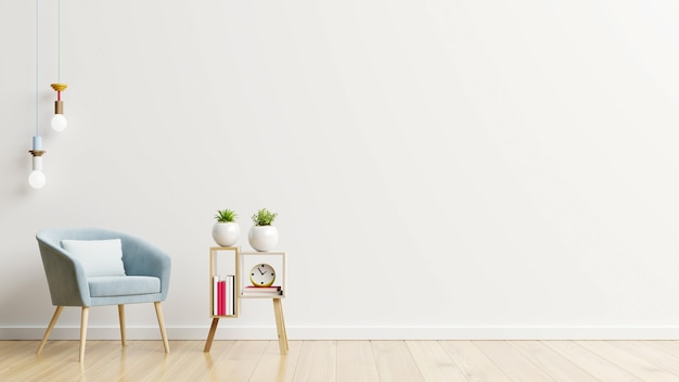 White wall with armchair in living room.3d rendering