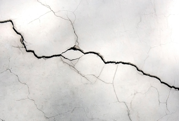 White wall with cracks