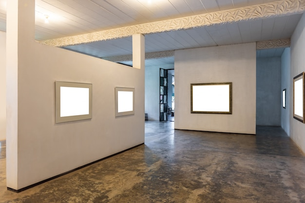 White wall with modern picture frame