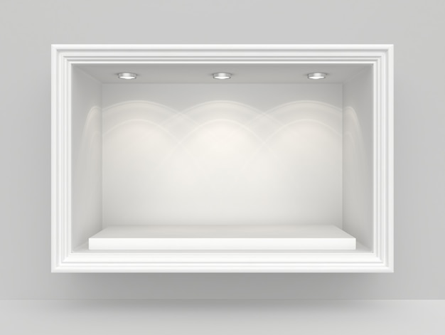 Белая стена с нишей и пустой постамент для выставки