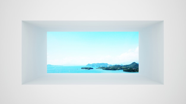 White wall with window sea view and bright sky