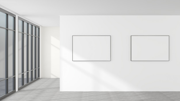 White walls and blank picture frames. it is a modern style decoration.