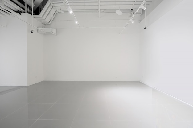 White walls and grey cement floors in the interior space