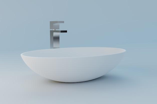 최소한의 욕실에 있는 흰색 세척 그릇, 3d 그림 렌더링