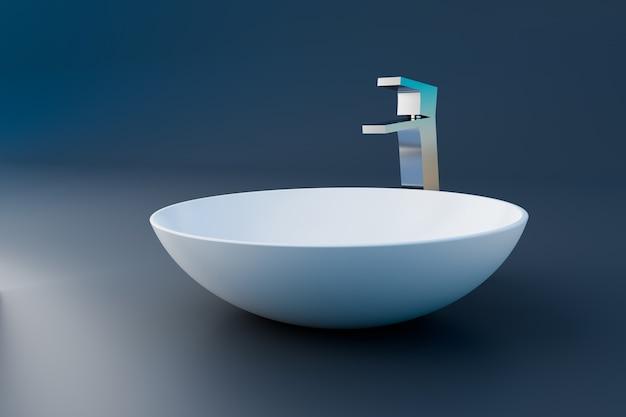 White wash bowl in minimal bathroom, 3d illustration rendering