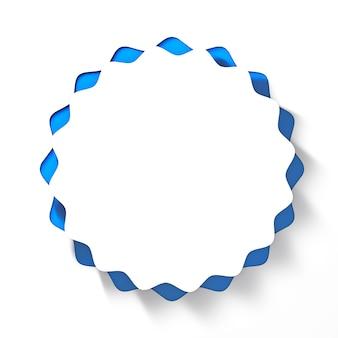 파란색 배경에 흰색 웨이브 원형 버튼입니다. 3d 렌더링