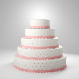 White wedding cake 3d background