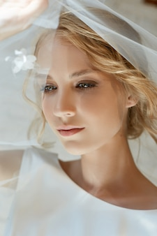 White wedding dress on the bride's body