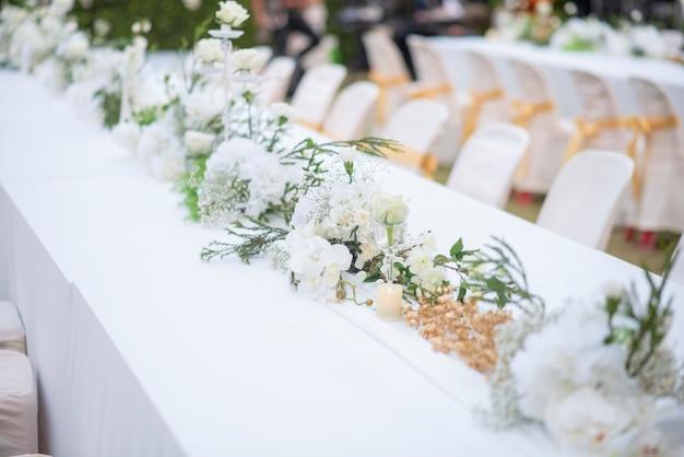 White wedding flower background and wedding decoration