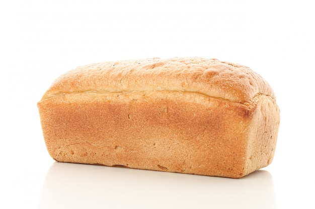 White wheat bread isolated . bakery products