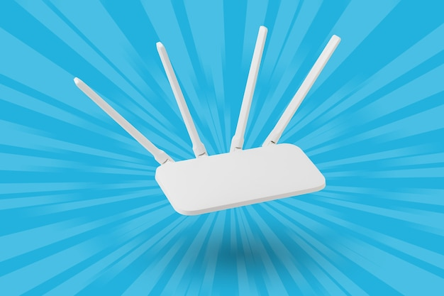 White wi-fi router on a blue abstract surface