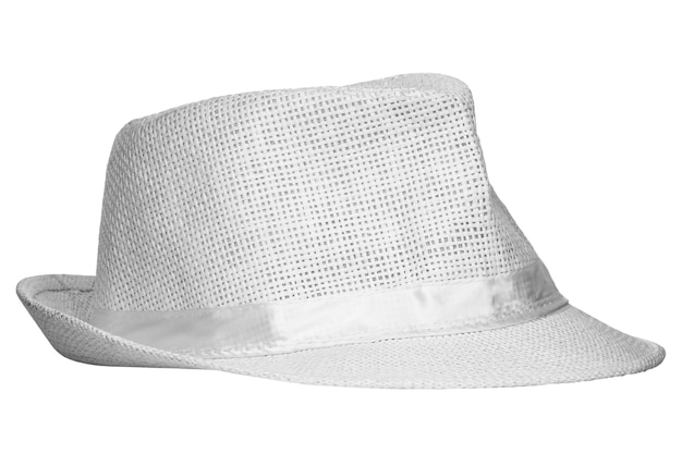 White wicker hat isolated on white background
