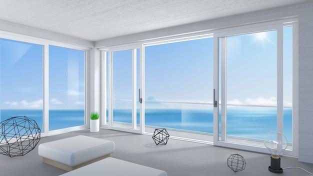 방에 흰색 넓은 슬라이딩 도어