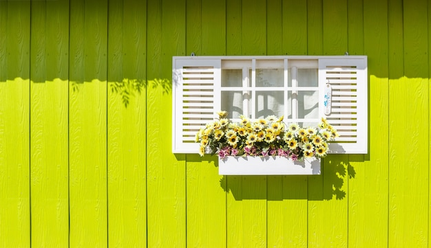 White window and wooden walls yellow
