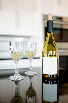 White wine bottle on the kitchen table