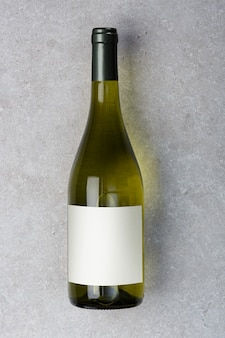 White wine bottle with label. wine bottle mockup. top view.