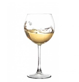 White wine swirling in a goblet wine glass isolated on a white background